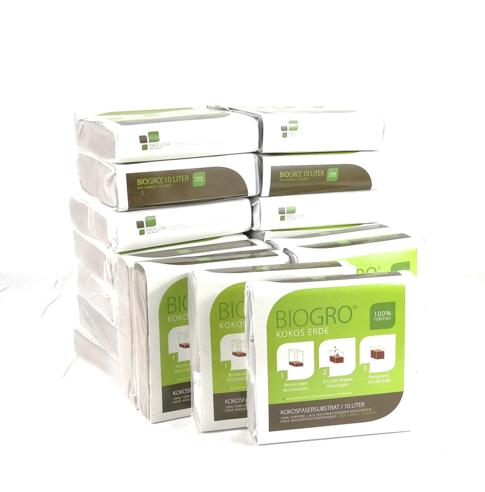 BIOGRO® Kokos-Blumenerde - torffrei - im Quellbeutel - 20 x 10 L - Nie mehr schwere Säcke tragen - kostenlose Lieferung!