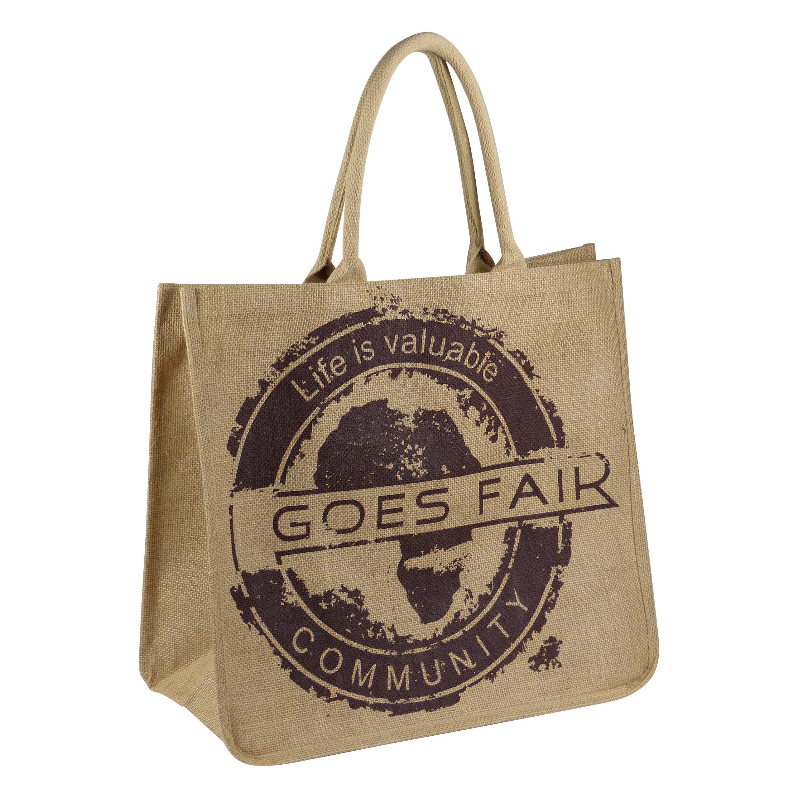 GOES FAIR® Jute Tasche 43x38x19 cm - braun - Jede Tasche eine Mahlzeit