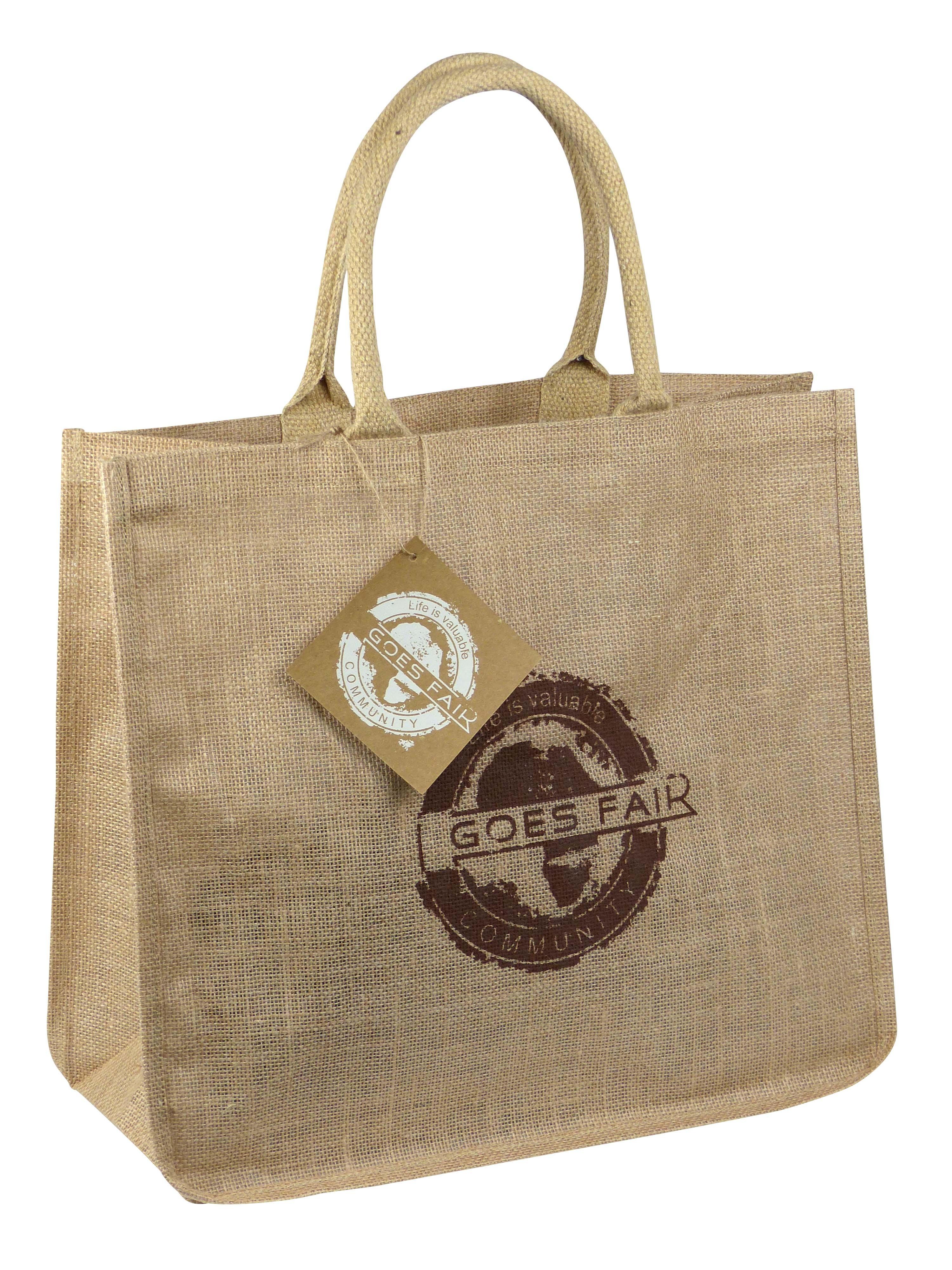 GOES FAIR® Jute Tasche 43x38x19 cm - braun (KL) - Jede Tasche eine Mahlzeit