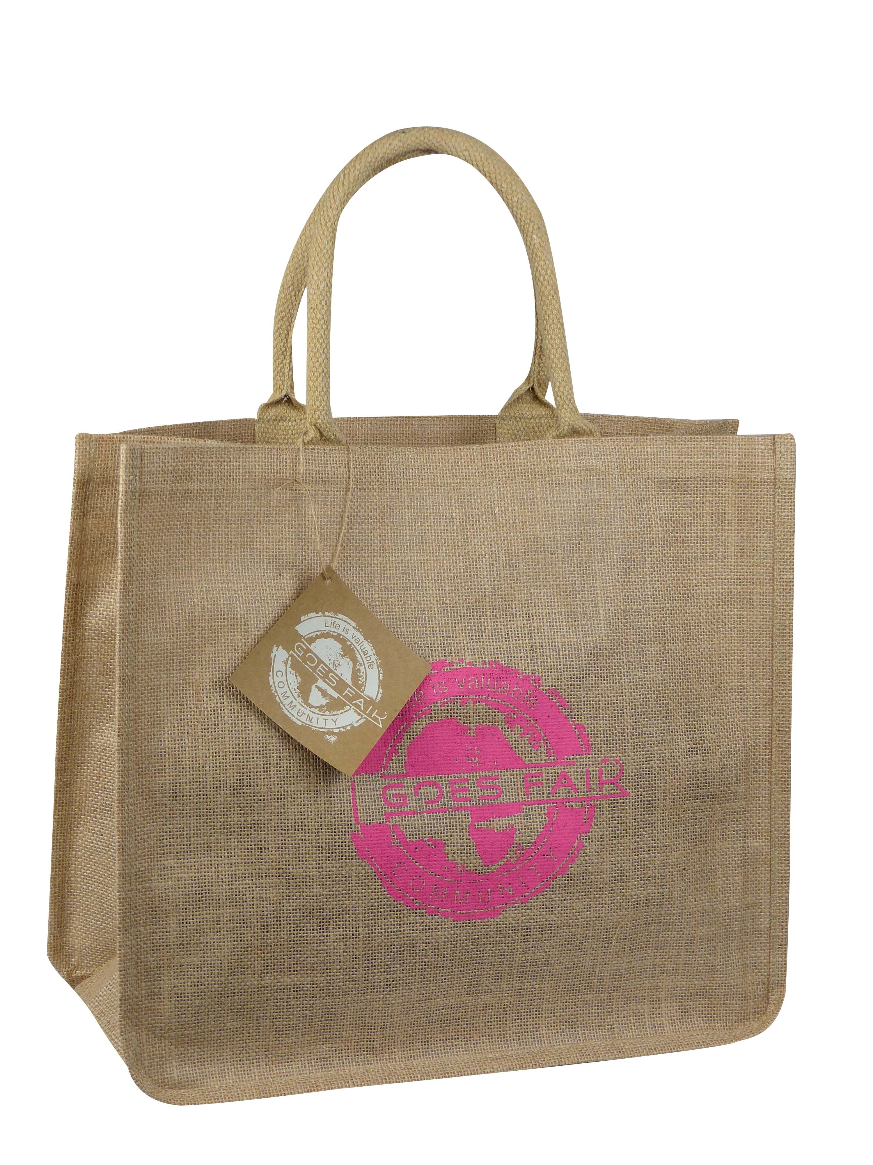 GOES FAIR® Jute Tasche 43x38x19 cm - pink (KL) - Jede Tasche eine Mahlzeit