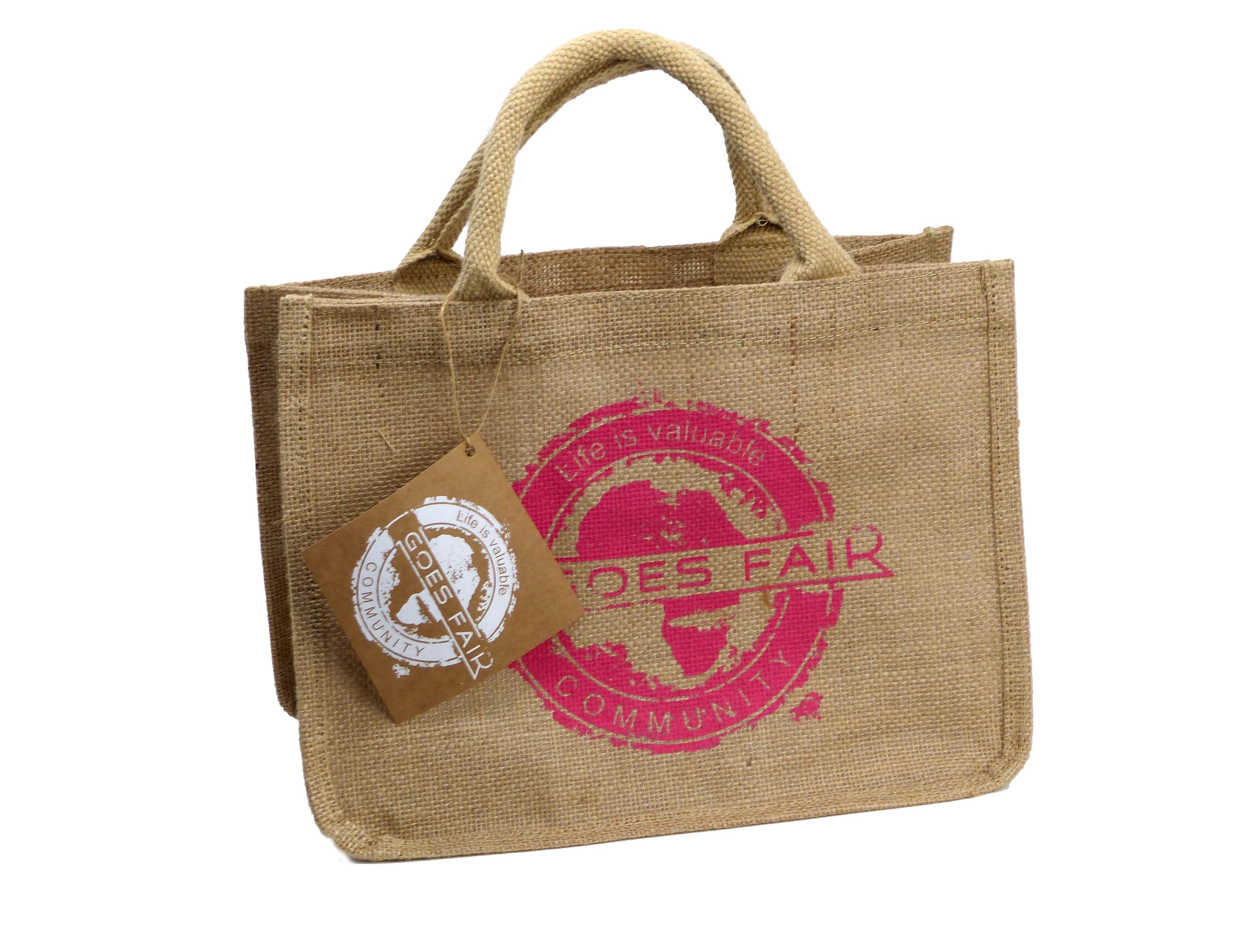 GOES FAIR® Jute Tasche 30x23x20 cm - fuchsia - Jede Tasche eine Mahlzeit
