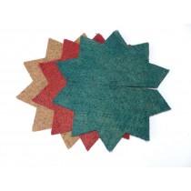Kokosfaser Mulchscheibe rot, grün, natur - Stern