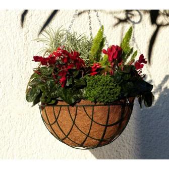 Blumenampel Set Ø 35 cm - 3teiligs Set mit Drahtkorb, Kette und Kokoseinlage mit Tropfschutz